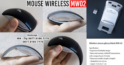WIRELESS MOUSE MW 02, Mouse With Receiver for Laptop PC, Foldable Folding Wireless Optical USB, Mouse Promosi Cetak, Wireless Mouse Glossy