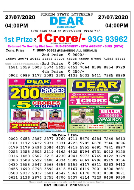 Lottery Sambad Result 27.07.2020 Dear Luck Monday 4 pm