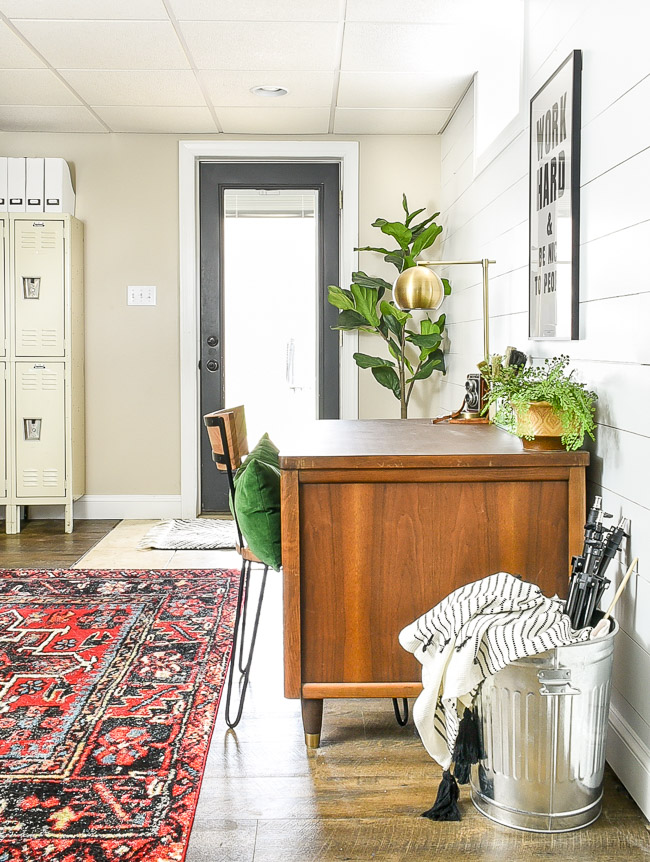 Vintage modern basement office
