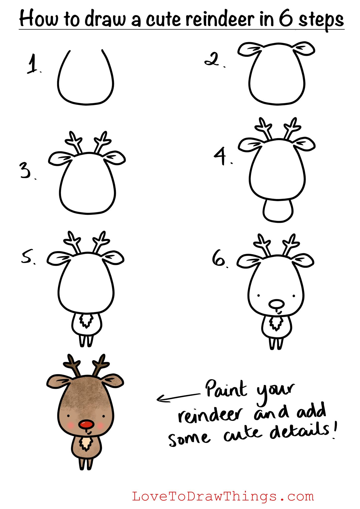 How To Draw A Cute Reindeer In 6 Steps