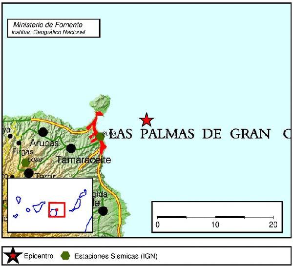 Un terremoto de magnitud 2 grados en  N.E. de Las Palmas de Gran Canaria