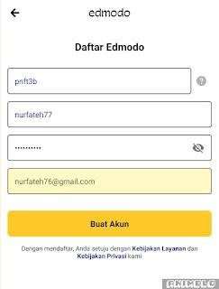 memasukkan kode kelas dan username edmodo