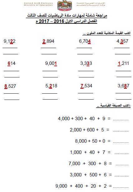 مراجعة شاملة في الرياضيات للصف الثالث الفصل الدراسي الاول 2018-2019