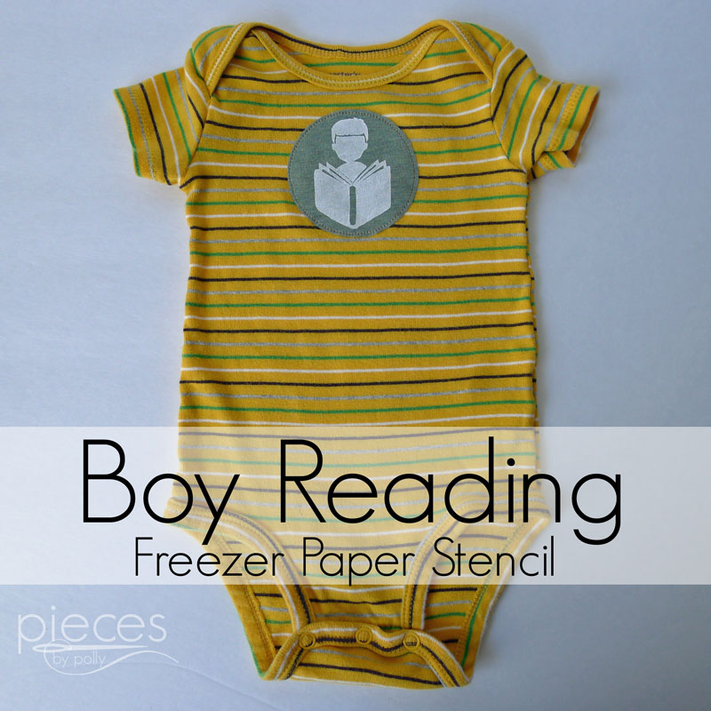 Pieces by Polly: Boy Reading Freezer Paper Stencil - Free