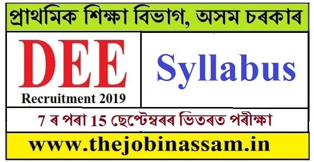 DEE Asaam Recruitment 2019: Syllabus for Grade III Posts