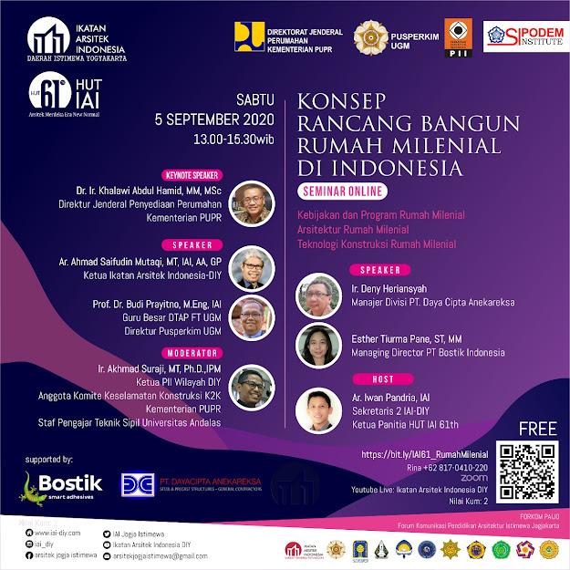 [HUT IAI 2020] KONSEP RANCANG BANGUN RUMAH MILENIAL DI INDONESIA