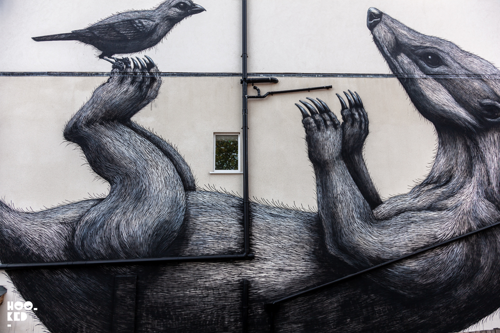 Close-up of Walthamstow Street art Mural By Belgian Street Artist ROA