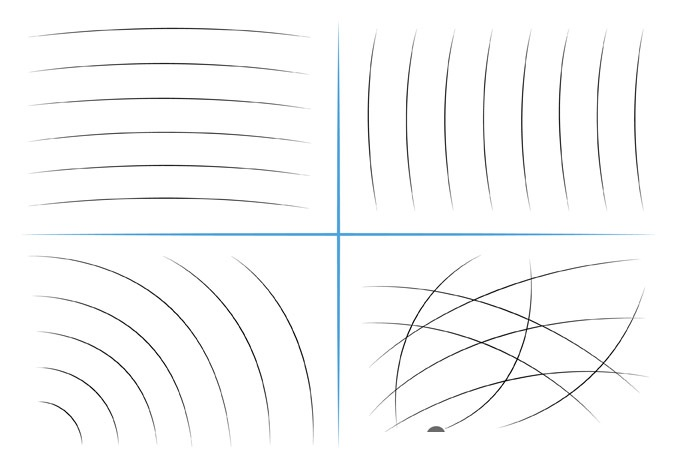 Latihan menggambar garis lengkung