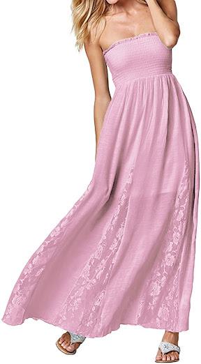Cute Women's Long Strapless Maxi Dresses
