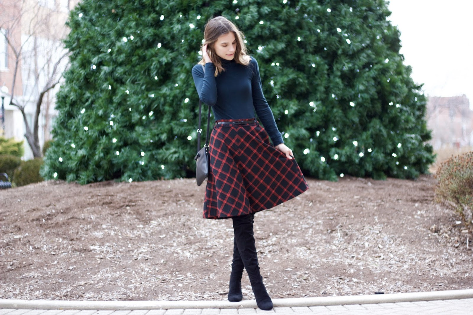 red and black buffalo check high waisted skirt from Urban Outfitters
