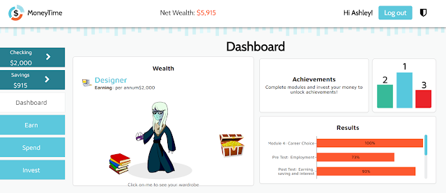 Dashboard for MoneyTime lets you customize your avatar.