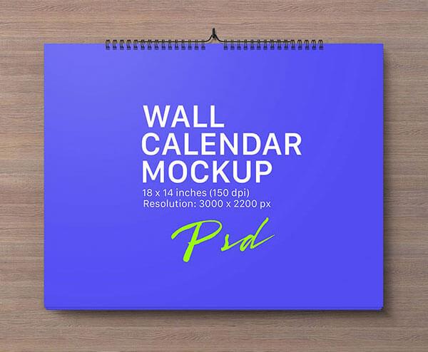 Mockup PSD Kalender 2019 Terbaru - Landscape Wall Calendar Mockup PSD