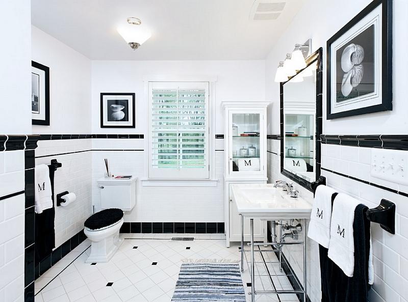 Modernas casas de banho a preto e branco  Decorao e Ideias