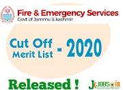 JK Fire And Emergency Service Merit List 2020 - Cut Off Released   Jk Fire Emergency Service Result 2020.
