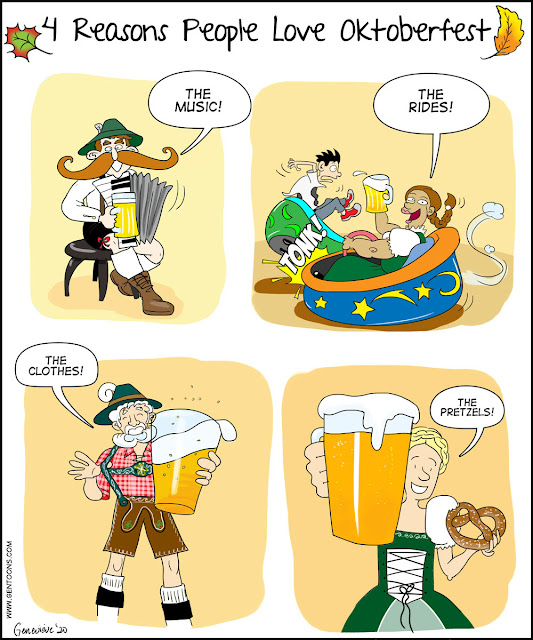 """4 frames, each one showing a person in traditional bavarian clothing.  1)man says """"The music!"""" He has huge curled mustache, plays an accordion with one hand, and is holding a stein of beer in the other.  2: a young woman says """"The rides!"""" she is sitting in a bumper car, smashing into another driver. she drives with one hand and in the other holds a large stein of beer.  3) a man with a curled white beard says """"The clothes!"""" He's showing off his lederhosen and suspenders with one hand, and holds a giant stein of beer in the other.  4) a young woman with a crown of braids says """"The pretzels!"""" in one hand she holds a pretzel, and in the other a gigantic (and very close-up) stein of beer.. ."""