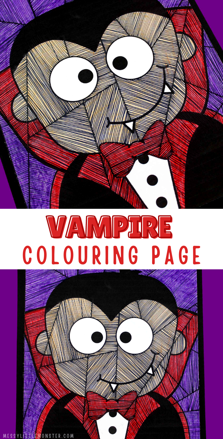 Vampire colouring page. Halloween line study for kids. Easy line art vampire craft.