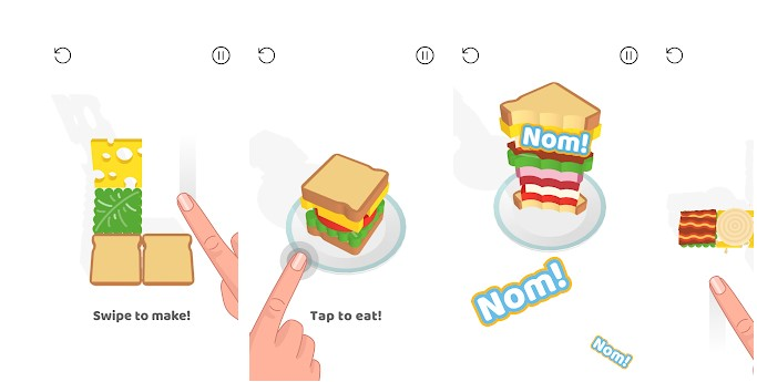 Sandwich! لعبة الألغاز الجديدة واللذيذة هذه ، تتمثل مهمتك في الجمع بين الخبز والخس والطماطم والسلمون والجبن والبصل والعديد من الإضافات.