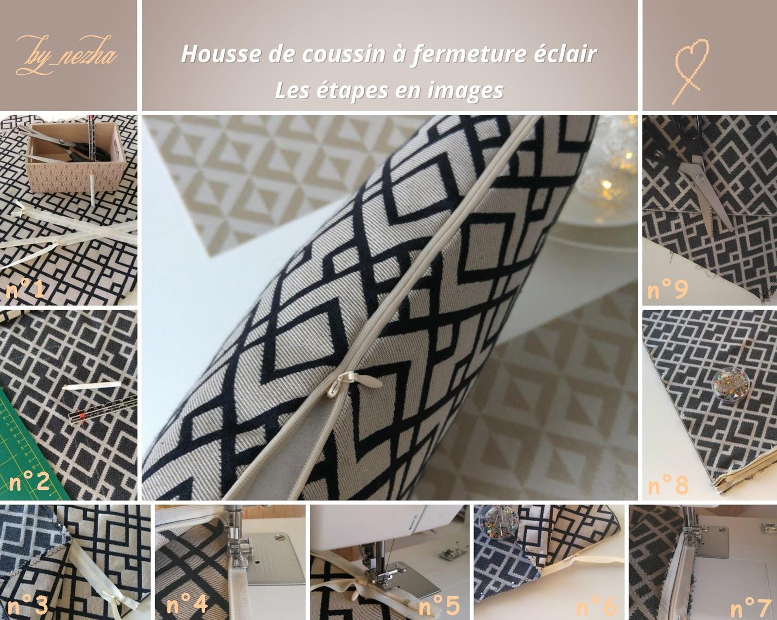 Couture d'un coussin décoratif fait maison, diy, do it yourself, fait main, apprendre à coudre, la couture pour les nuls, machine à coudre
