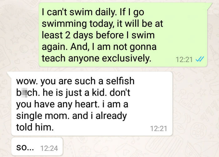 Swimming Teacher In India Who Teaches Children For Free Was Shocked By A Mother's Demand That She Teaches Her Son Exclusively For One Month
