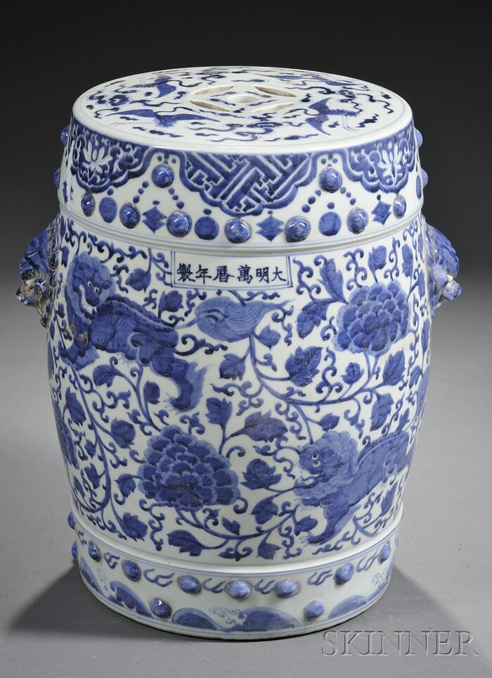 Boxwood Terrace Chinese Blue And White Garden Seats