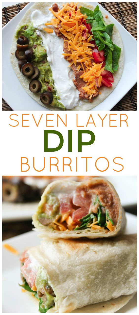 7 LAYER DIP BURRITOS #7layerdip #burritos #lunch #lunchrecipes #easylunchrecipes