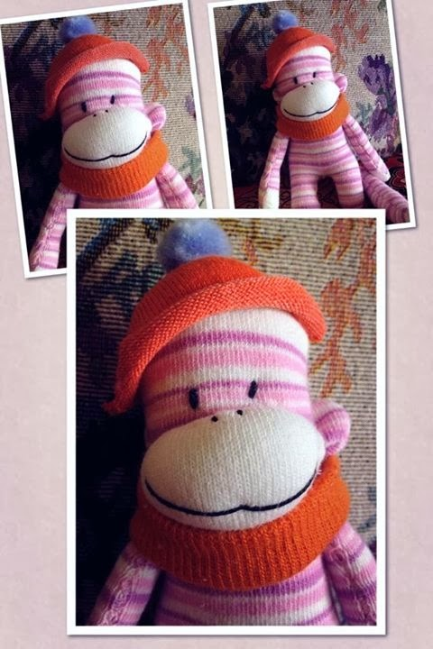 ad6429db Baby Prince is a cute new sock monkey, handmade by me, a one-of-a-kind  original. He is made from a brand new pair of toddler's pink and white strips  socks.