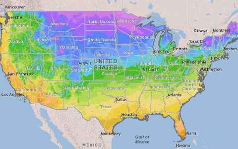 2012 USDA hardiness zone map for tree planting