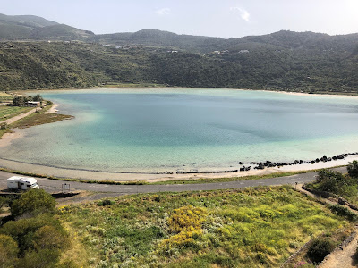 View of Lago Specchio di Venere on Pantelleria.