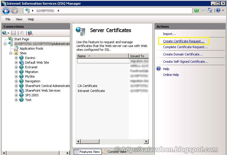 IIS Server Certificates Console