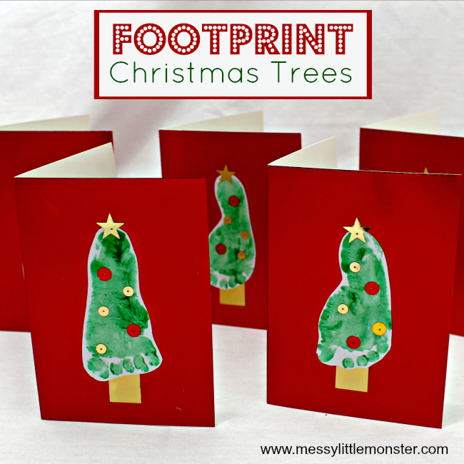 Footprint Christmas tree keepsake craft for kids. An easy Christmas greeting card idea for babies, toddlers and preschoolers.