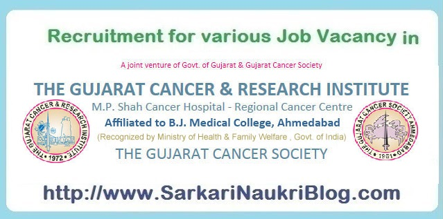 Naukri Vacancy Recruitment GCRI Ahmedabad