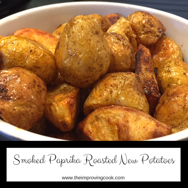 Smoked Paprika Roasted New Potatoes pinnable image