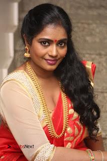 Actress Jayavani Stills in Red Saree at Intlo Deyyam Nakem Bhayam Trailer Launch .COM 0147.JPG