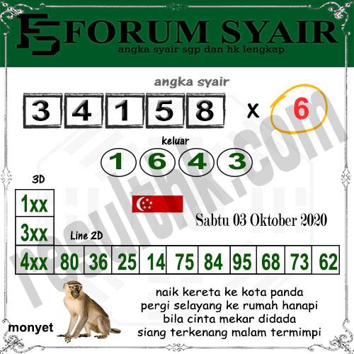 Forum Syair SGP Sabtu 03 oktober 2020