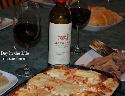 lasagna with wine