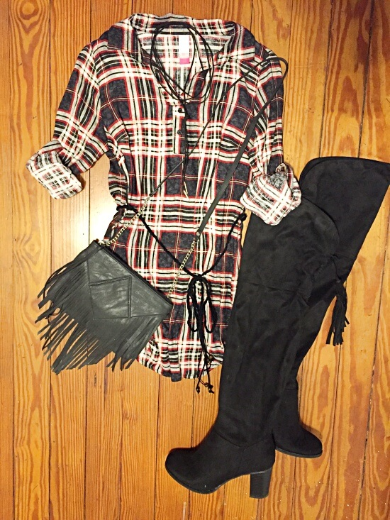 long plaid tunic outfit of the day