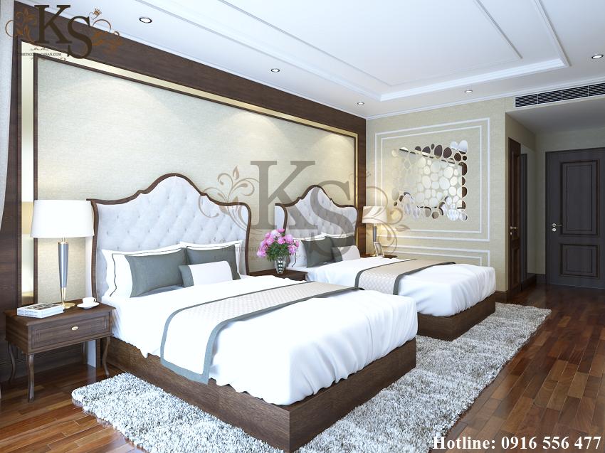 Hình ảnh: Tone màu trắng chủ đạo xuất hiện xuyên suốt thiết kế nội thất phòng ngủ từ tấm nệm phía đầu giường, ga trải giường, màu sơn tường phòng tạo nên vẻ đẹp tinh khôi.