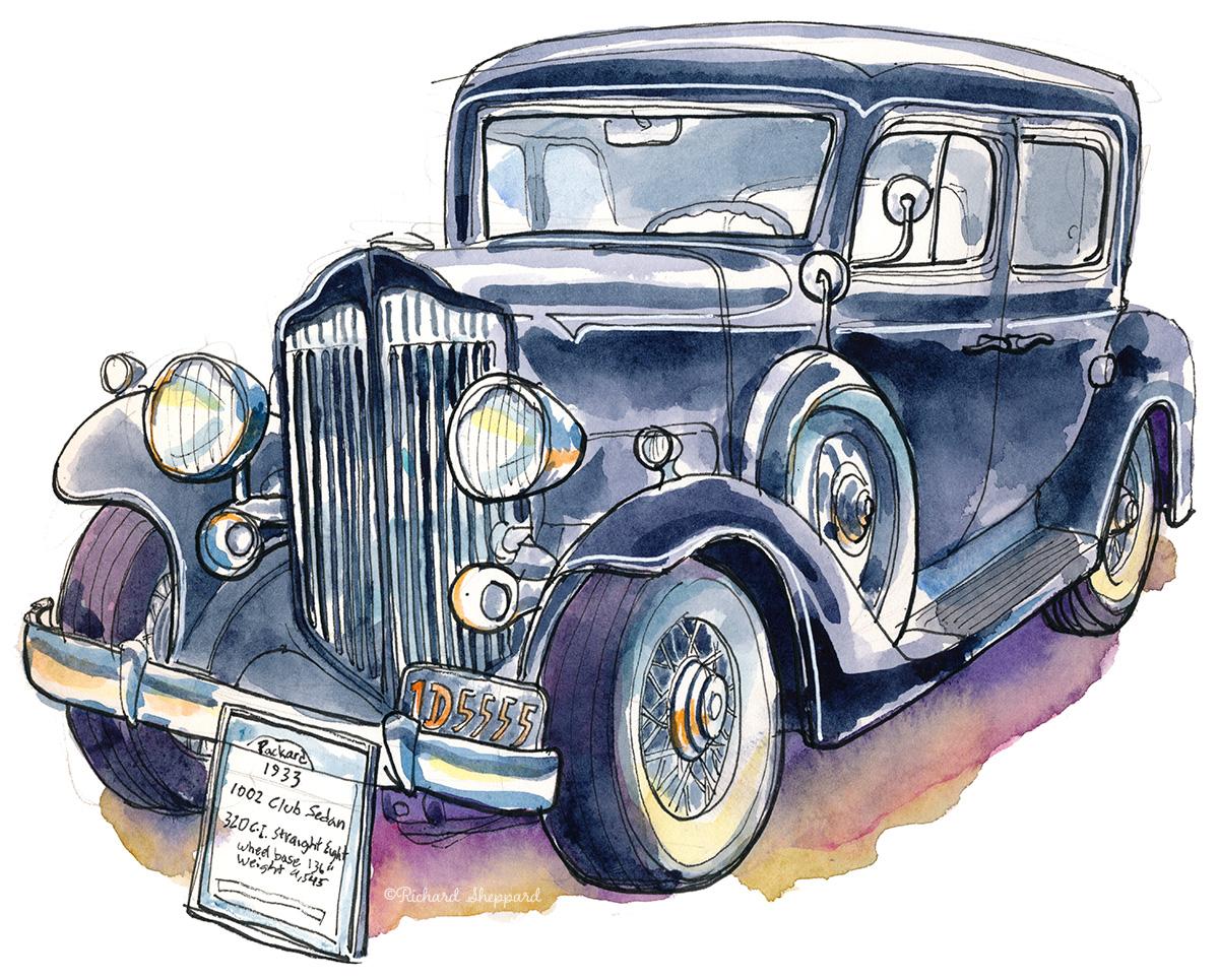 Urban Sketchers SF Bay Area Cloverdale Antique Auto Show - Car show sf bay area
