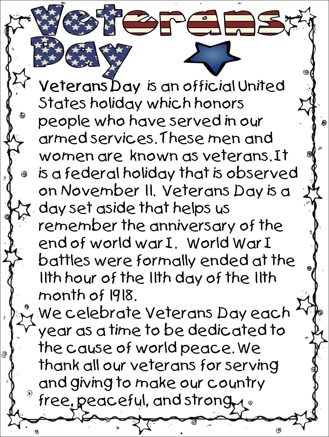 First Grade Wow Veterans Day Mini Unit
