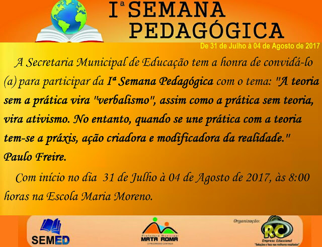 Secretaria de Educação convida funcionários e colaboradores para o início da Semana Pedagógica em Mata Roma