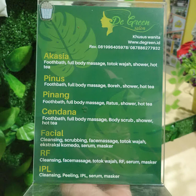harga paket treatment di de green salon and spa