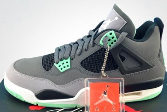 c4d769aebb0b Air Jordan 4 Retro Dark Grey Green Glow-Cement Grey-Black August 2013