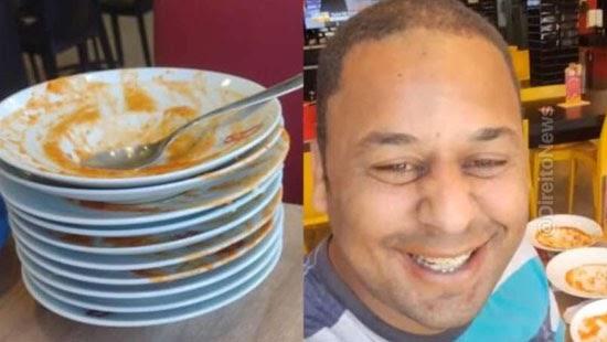 pintor expulso rodizio comer demais restaurante