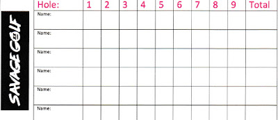 Savage Golf scorecard from the minigolf pop-up in Norwich