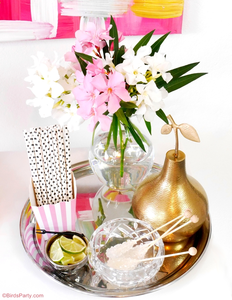 How to style a bar at home - DIY Bar Styling without a Bar Cart - BirdsParty.com