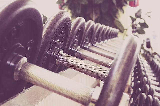 Weights, Dumbbells on Rack