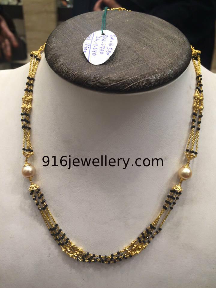 Black spinel beads chain designs latest 2015 SUDHAKAR