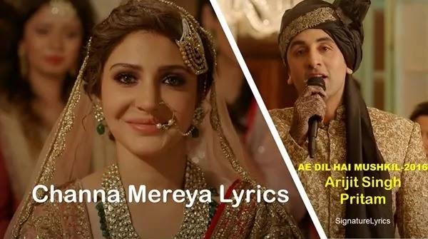 Channa Mereya Lyrics ARIJIT SINGH Ft RANBIR KAPOOR