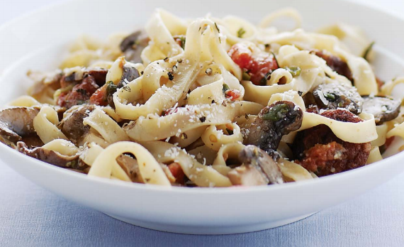 fresh pasta with sausage and mushrooms