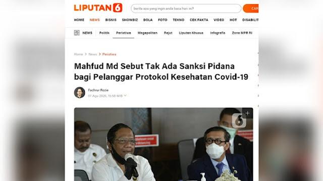 Habib Mahfud Pernah Bilang Tidak Ada Pidana bagi Pelanggar Protokol Kesehatan